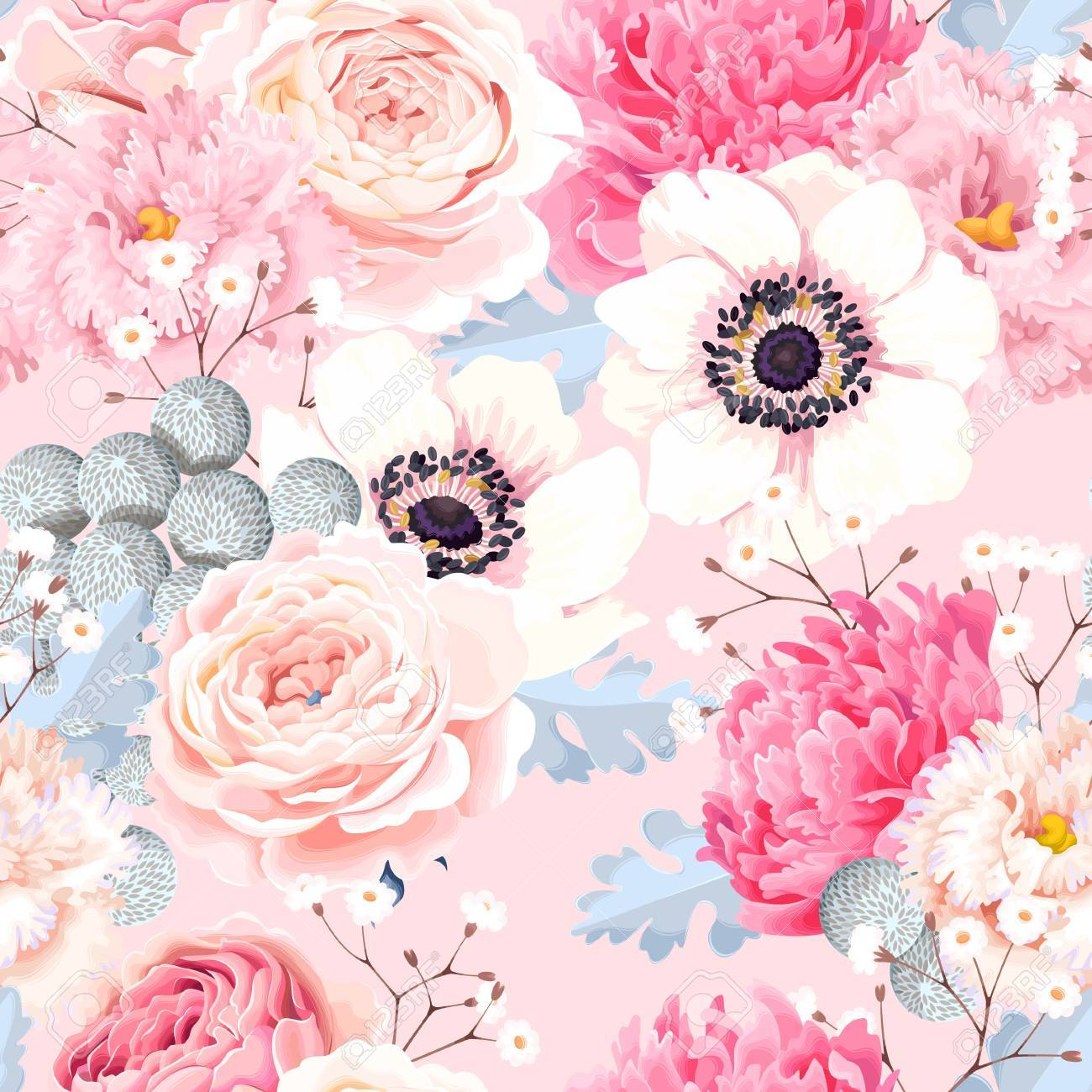 Seamless pattern with anemones and roses - 88253033