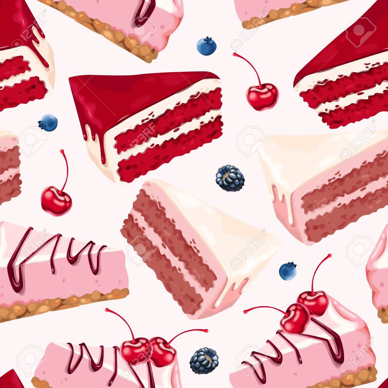 Vector seamless background with cakes - 89348000
