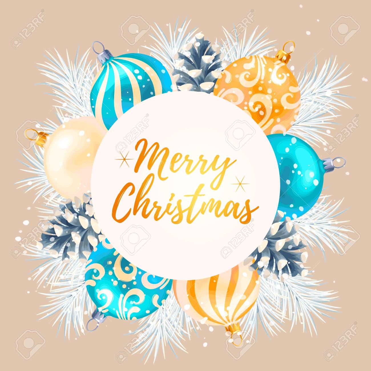 Merry Christmas Greeting Postcard With Christmas Decorations Royalty