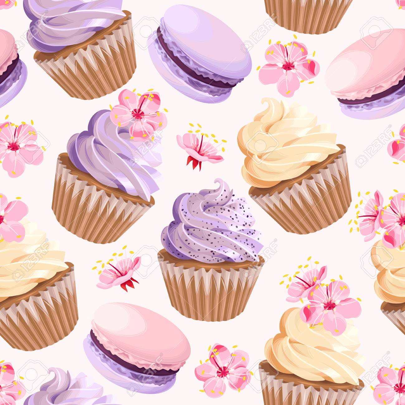 Seamless cupcakes and flowers Vector illustration. - 91691583