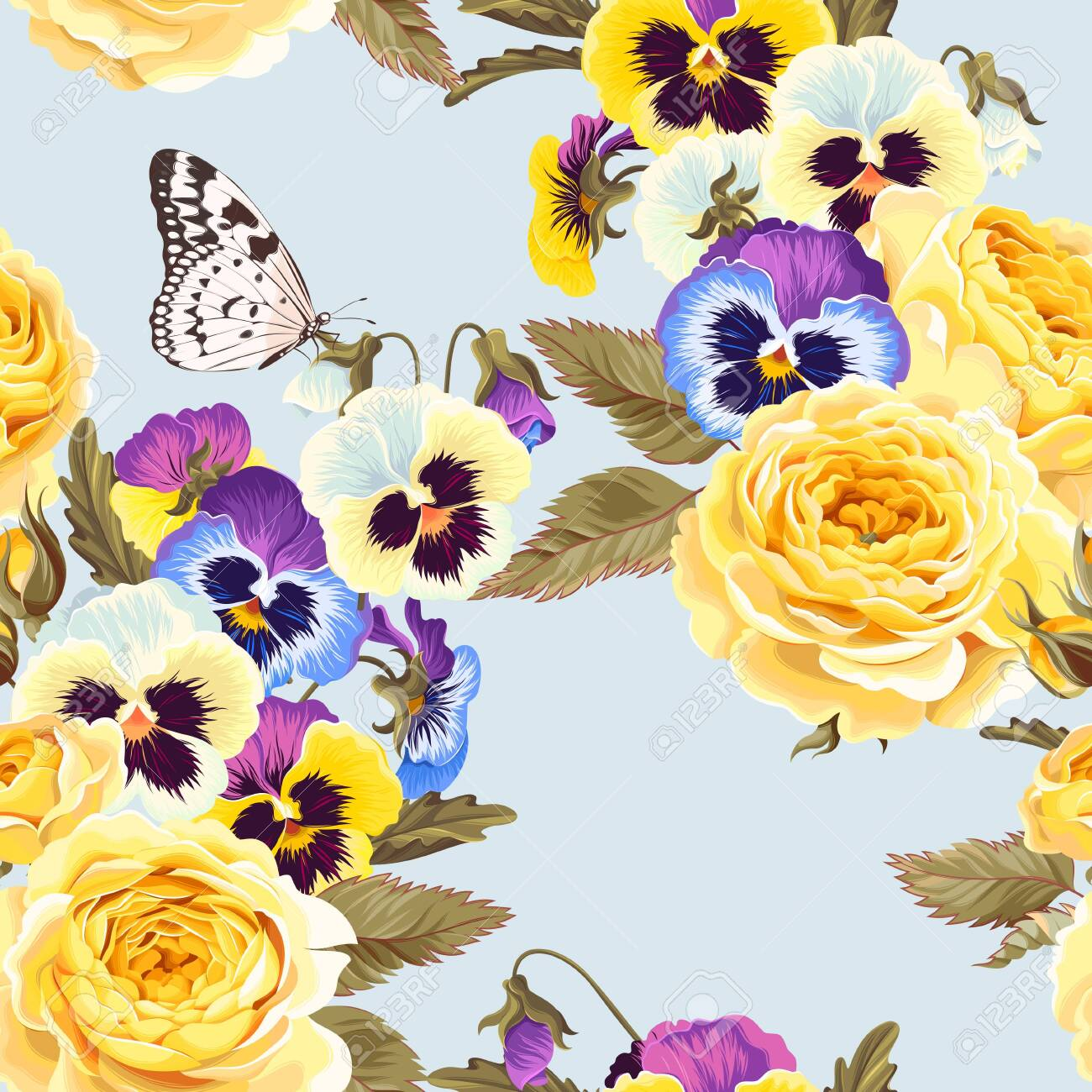 Vector seamless pattern with high detailed yellow roses and varicolored pansies - 124113489