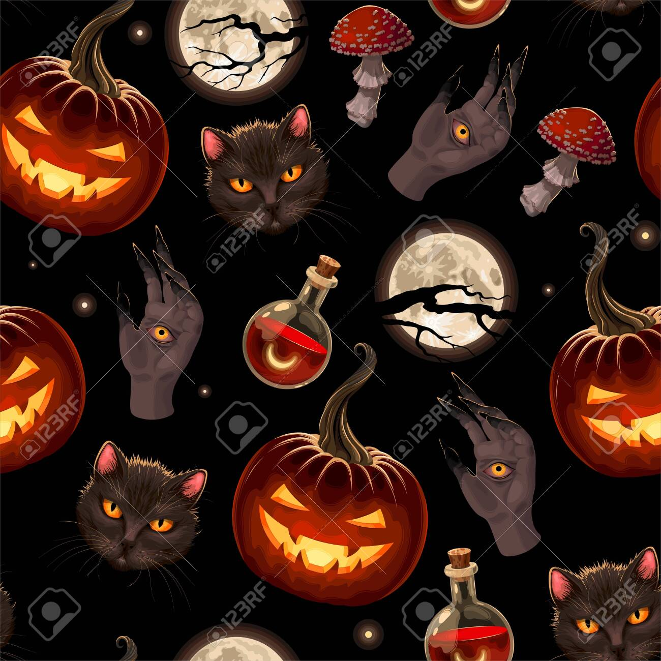 Vector seamless pattern for Halloween with pumpkin - 155865695