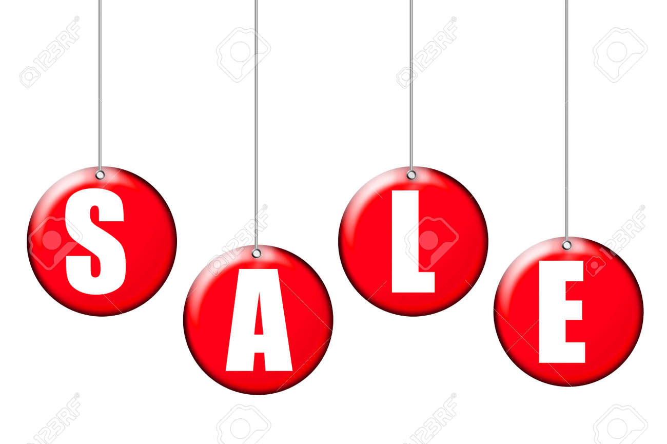 red and white labels sale over white background Stock Photo - 9622775