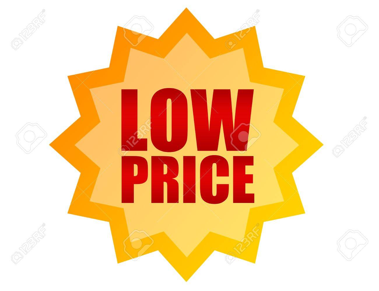 orange and red label low price over white  background Stock Photo - 9622932