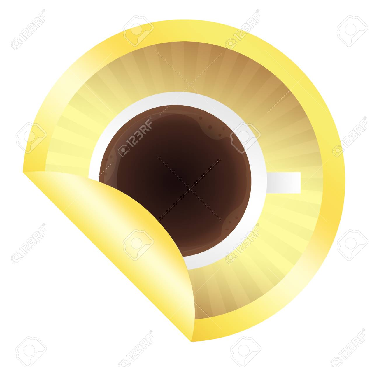 gold coffee label isolated over white background Stock Photo - 9853270