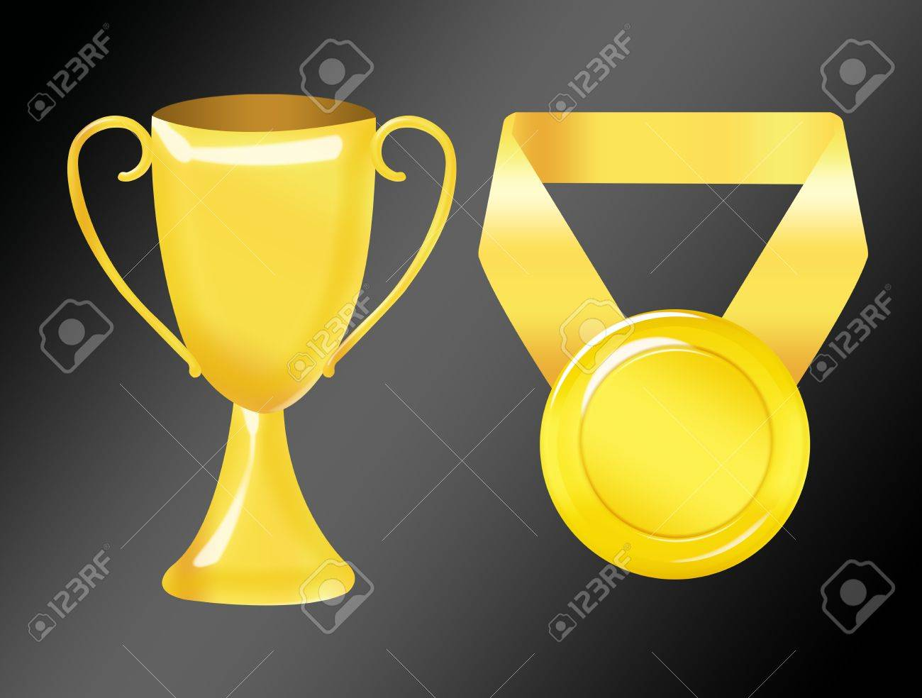 Gold Trophy And Medal Isolated Over Black Background Stock Photo