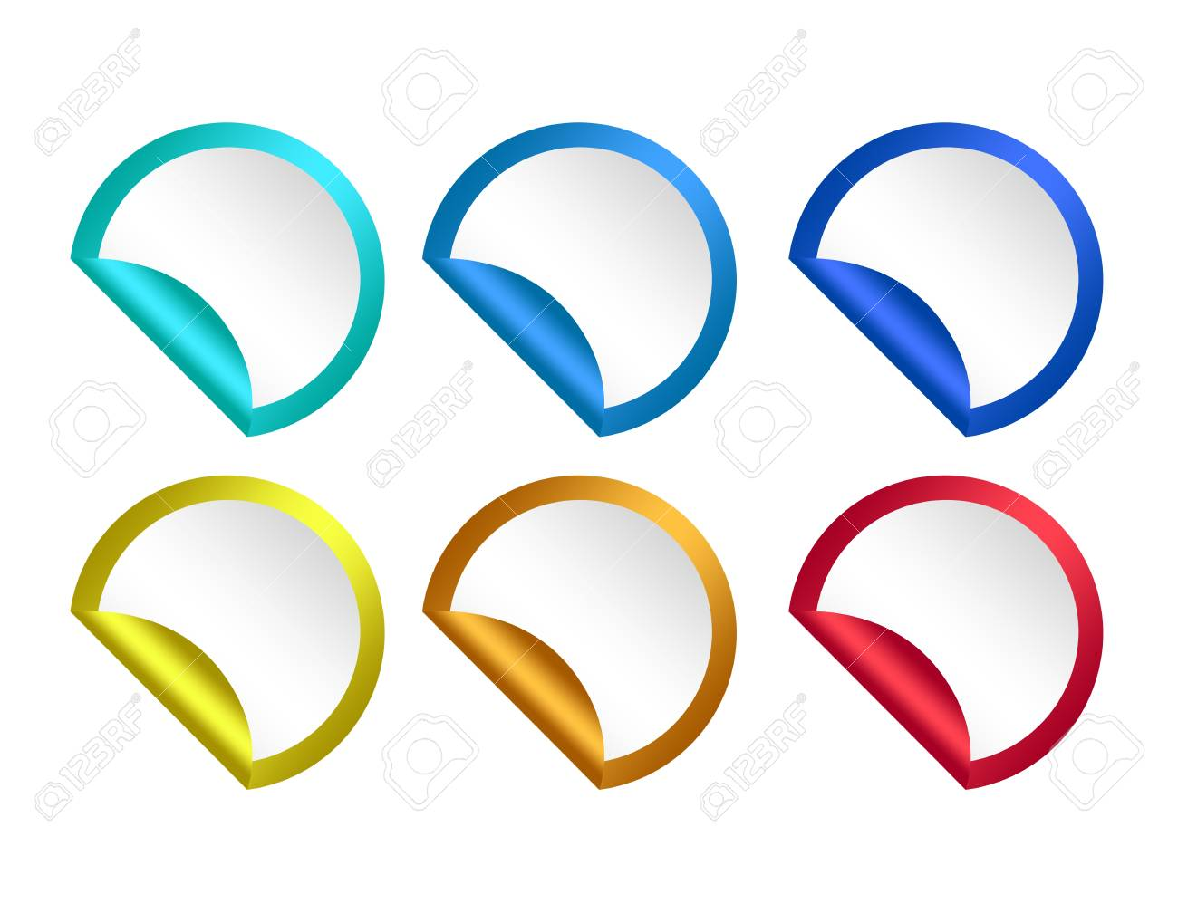 colored round stickers isolated over white background Stock Photo - 9853544
