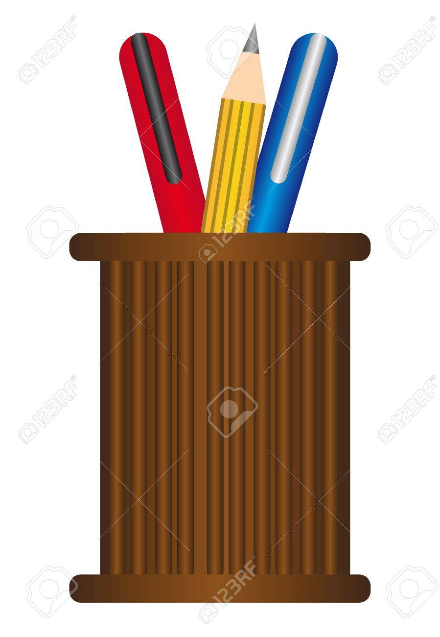brown pen holder with blue, red an yellow pens isolated over white background Stock Vector - 9945849