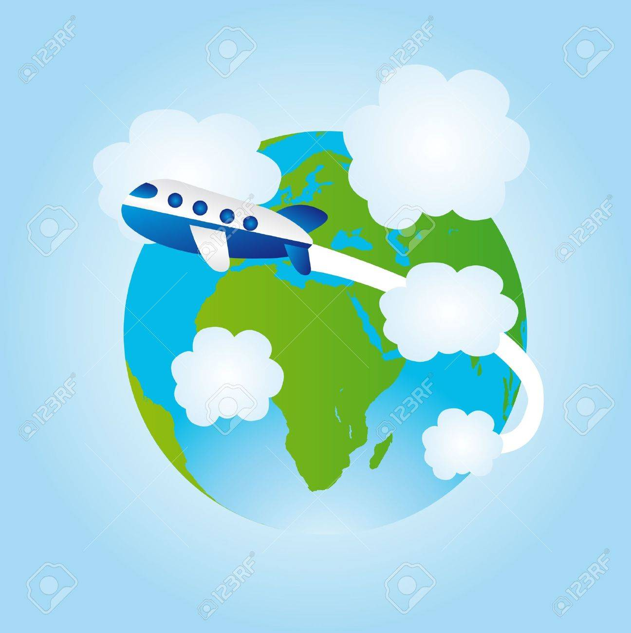 blue and green earth and blue airplane over blue background. Stock Vector - 10110145