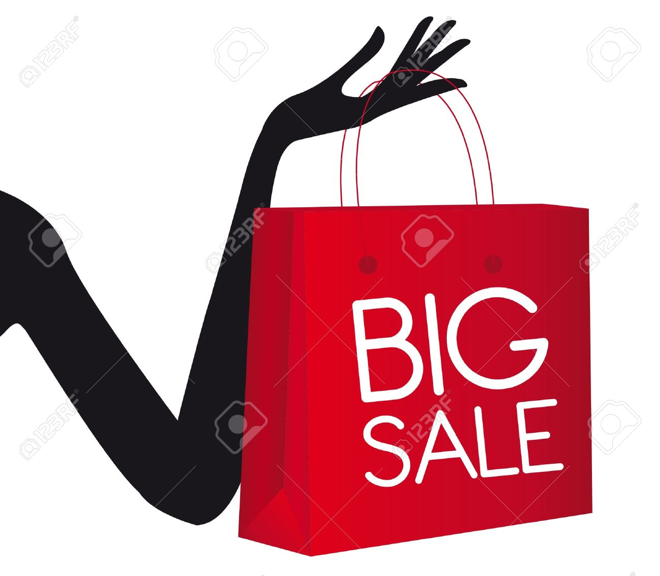 Red Shopping Bag With Silhouette Hand Isolated Over White ...