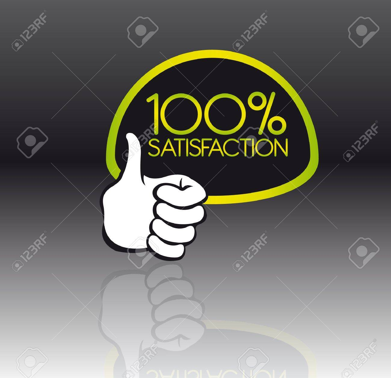 green and black 100 percent satisfaction with reflection with thumb up Stock Vector - 10255991