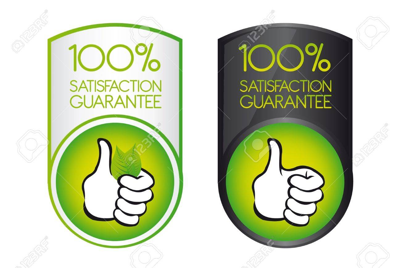green 100 satisfaction guarantee with thumb up over white background. vector Stock Vector - 10255995