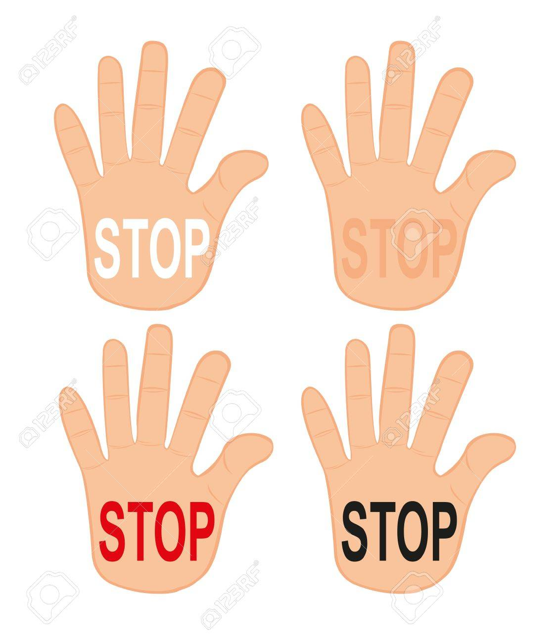 hands stop isolated over white background. vector Stock Vector - 10768280
