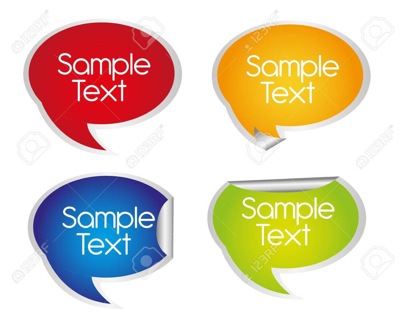 colorful thought bubbles stikers isolated with space advertising. vector Stock Vector - 10768543