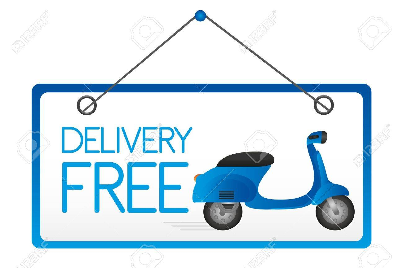 Vector - delivery free door sign isolated over white background. vector