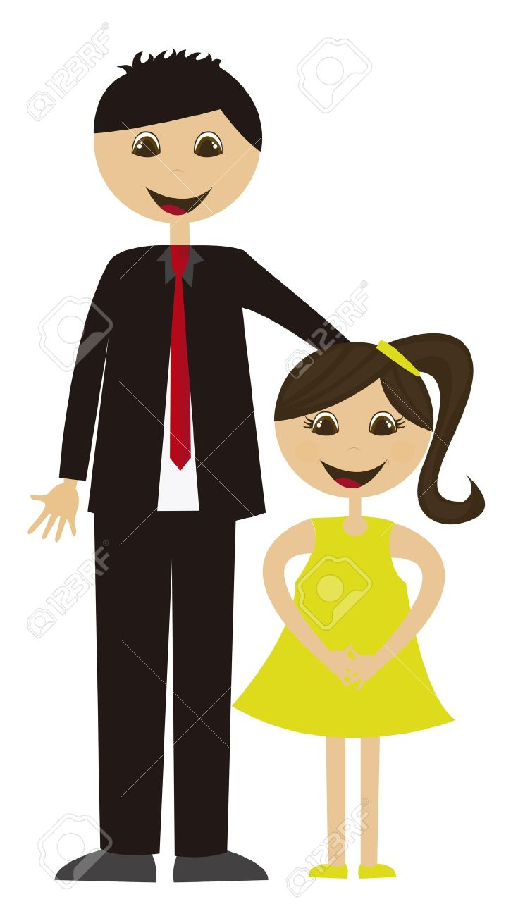 father and daughter cartoon isolated over white background vector rh 123rf com father and daughter dancing clipart father and daughter clipart