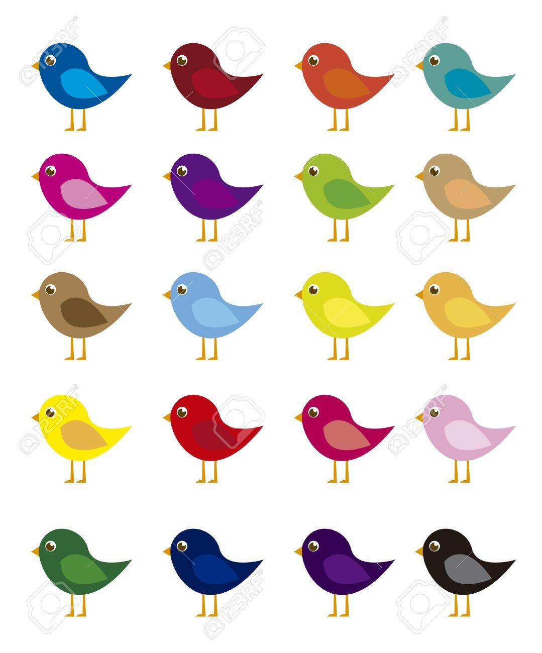 De Dibujos Animados Pájaros De Colores Aislados Sobre Fondo Blanco