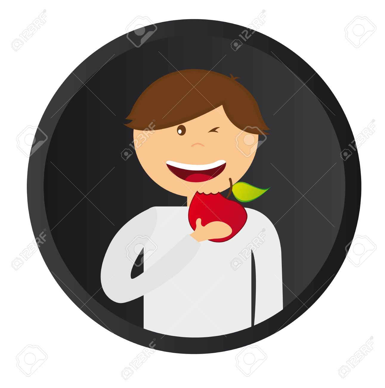 hapyy  man eating an apple over black circle background. vector Stock Vector - 10851285