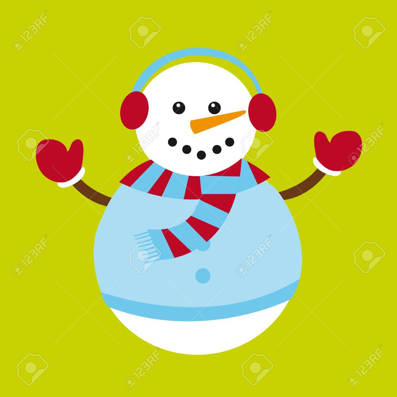 cute snowman isolated over green background. vector Stock Vector - 11102494