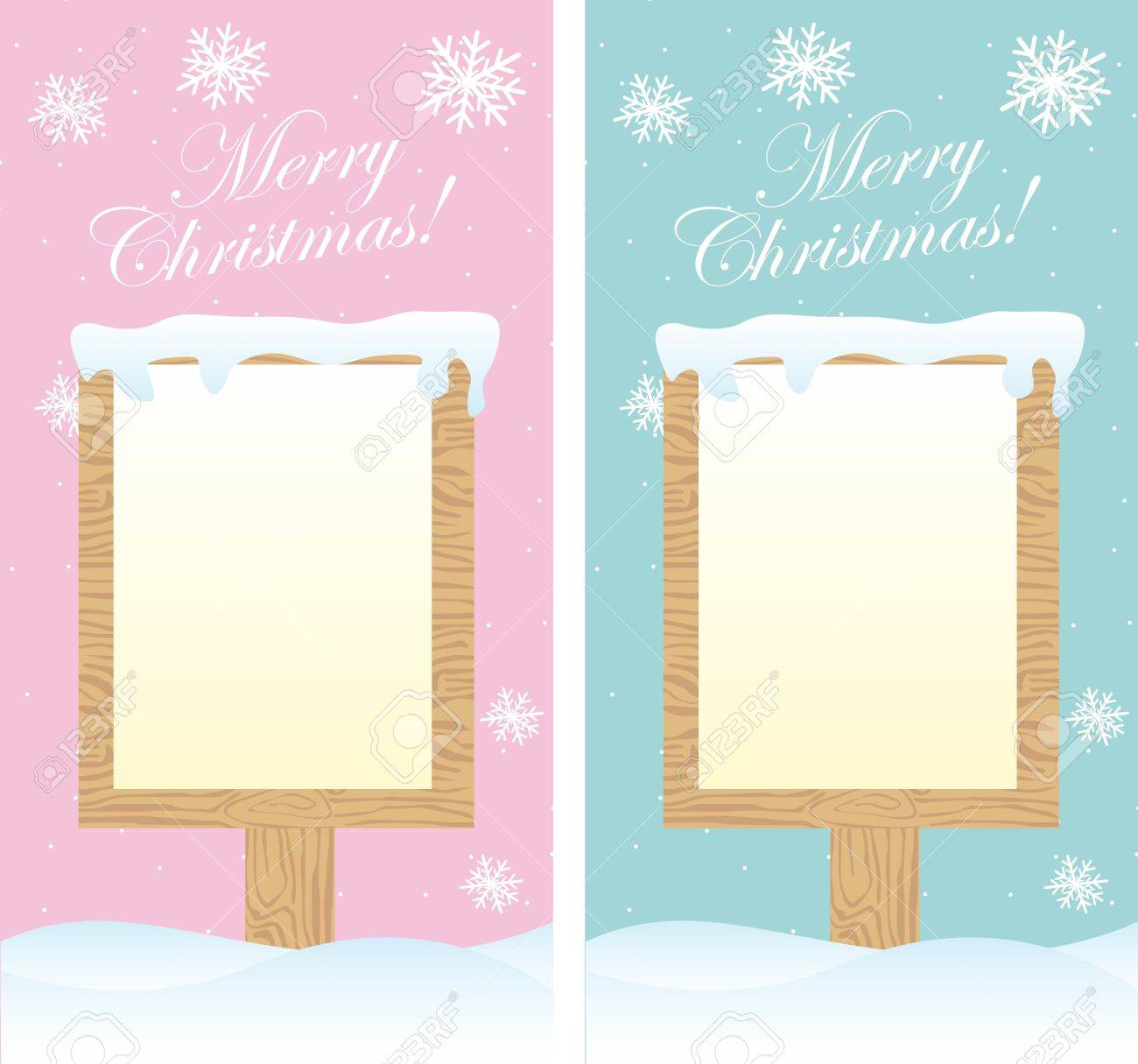two cute blank signs christmas over snow. vector Stock Vector - 11102528