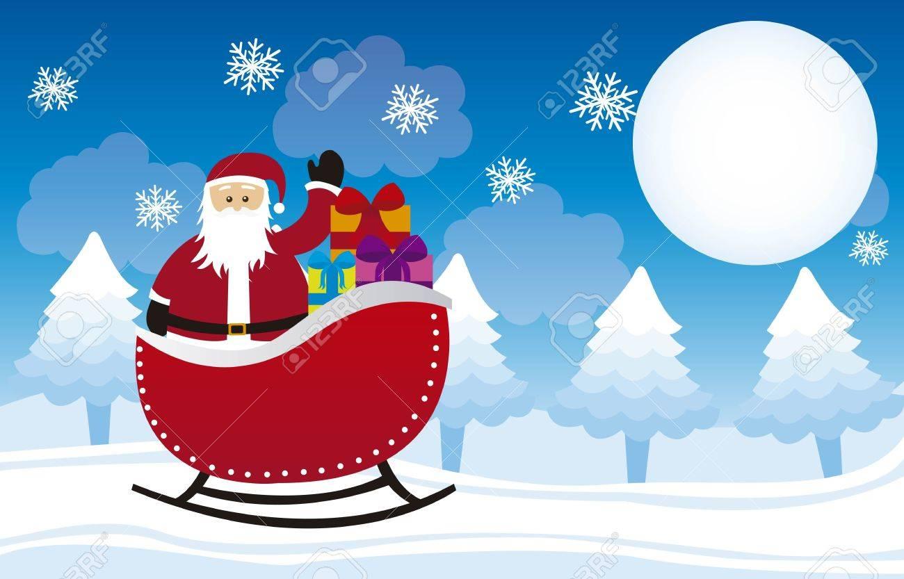 santa claus over sleigh, over winter landscape. vector Stock Vector - 11102498