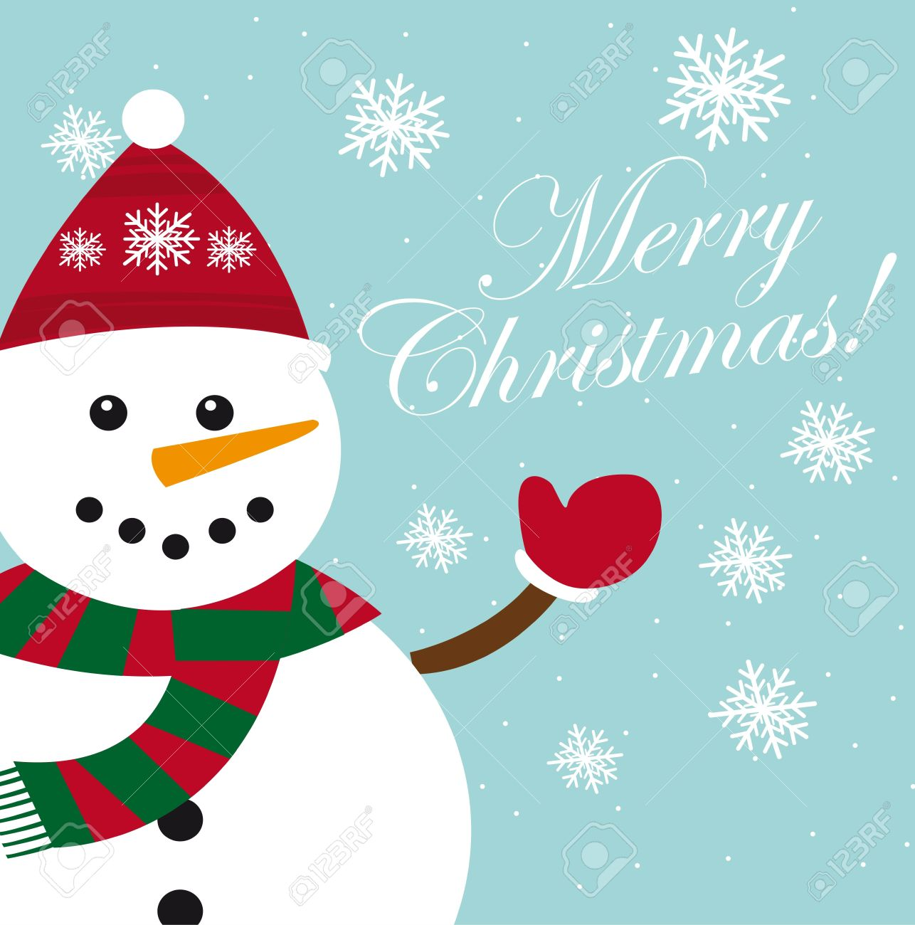 cute snowman card with snowflakes, christmas. vector Stock Vector - 11102513
