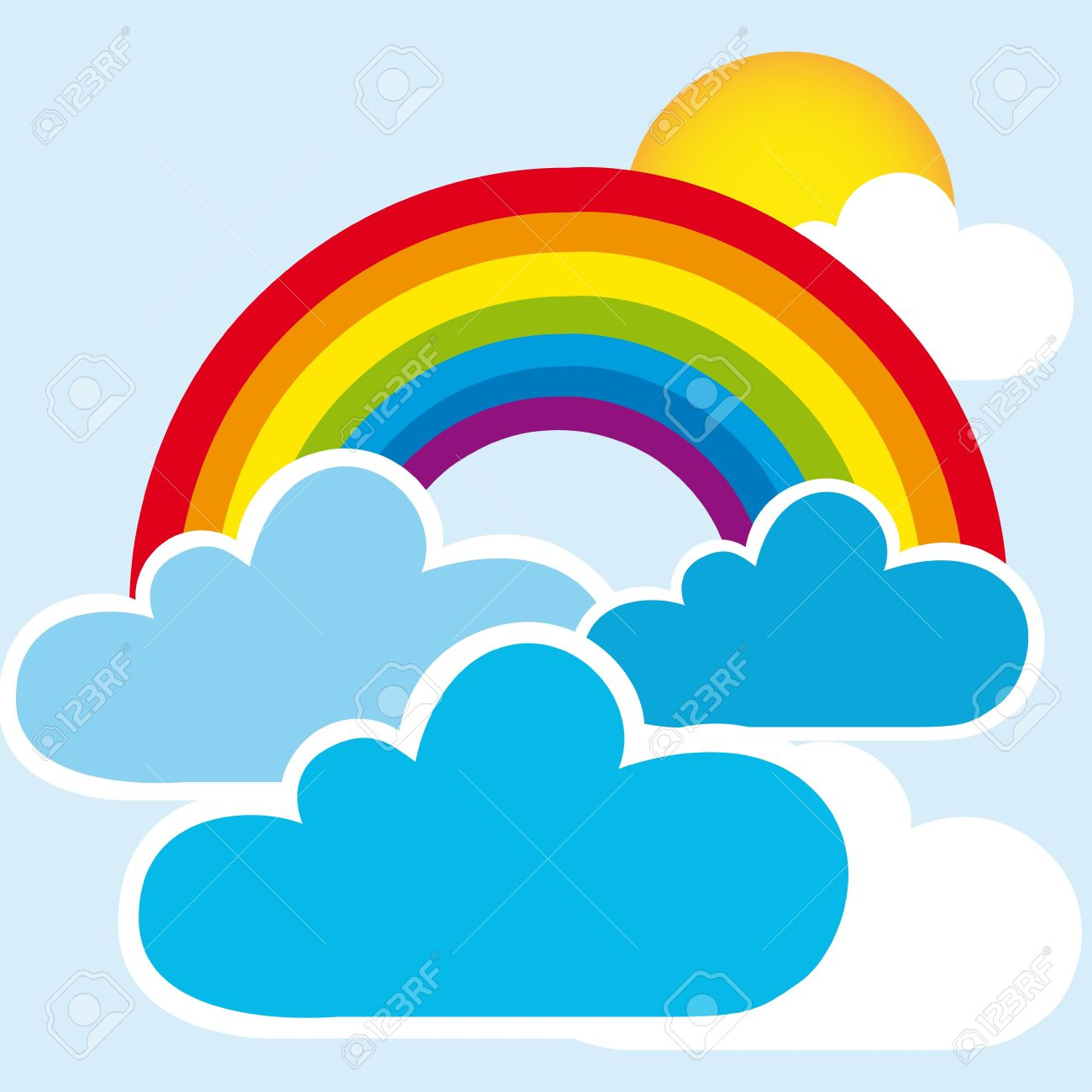 rainbow and clouds with sun, landscape. vector Stock Vector - 11317800