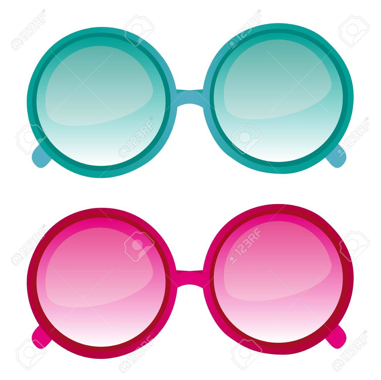 Blue and pink sunglasses vector isolated over white background. vector Stock Vector - 11317678