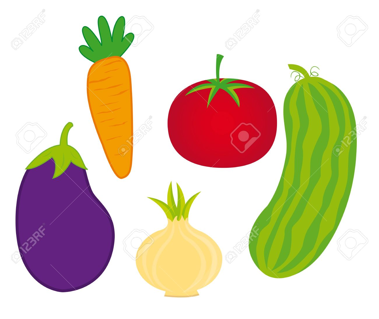白地にかわいい野菜。ベクトル イラスト ロイヤリティフリークリップ