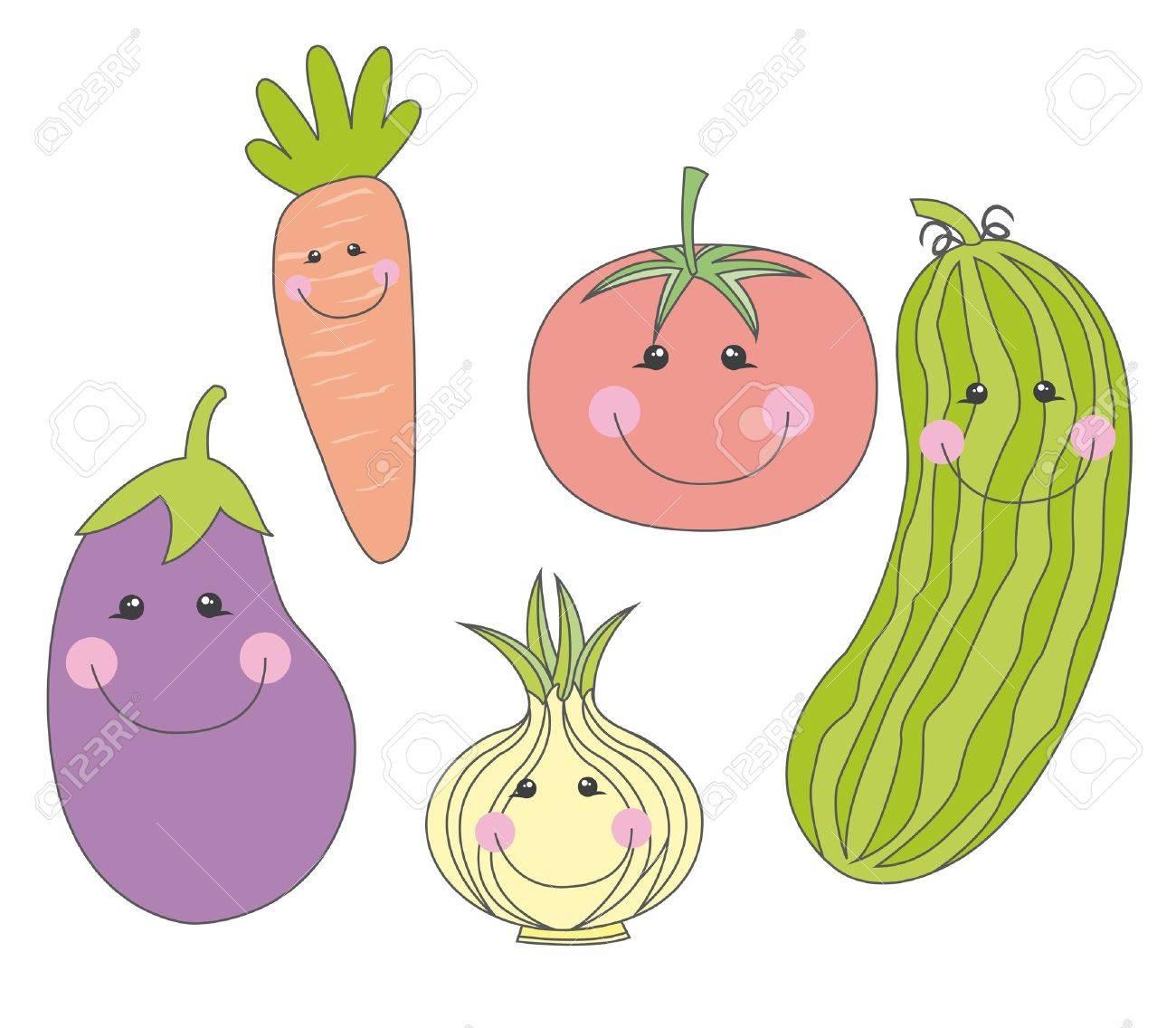 Cute Vegetable Background Vector Cute Vegetables