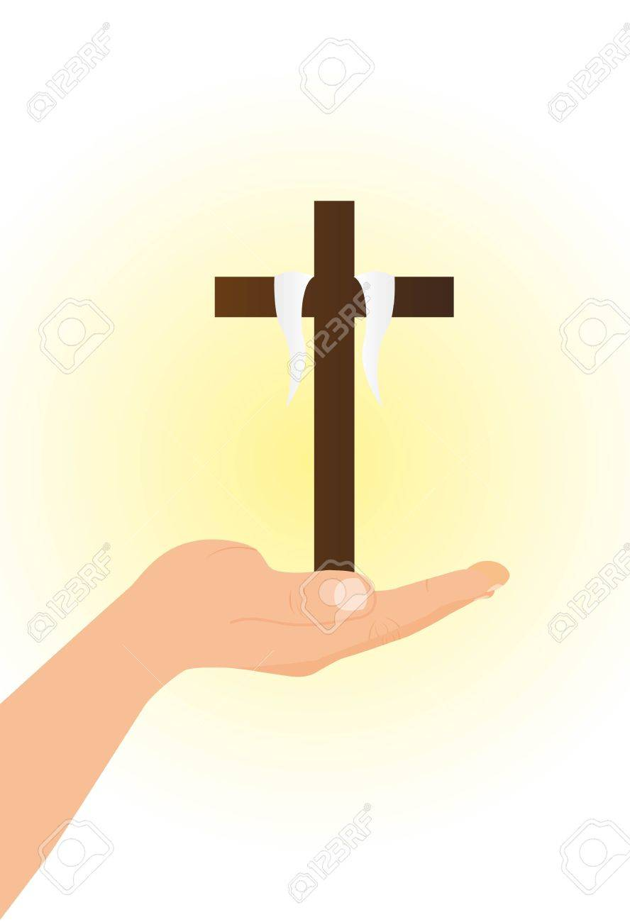 hand with brown cross over light vector illustration Stock Vector - 11618397