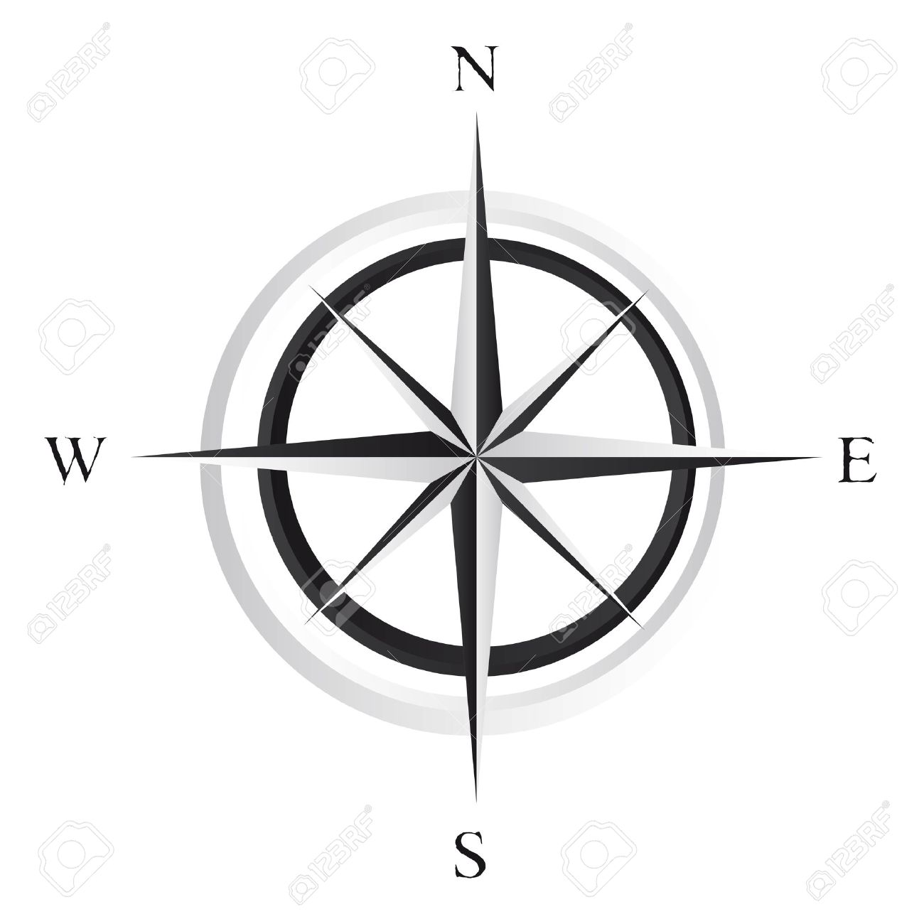 Black And White Compass Rose Over Background Vector Stock