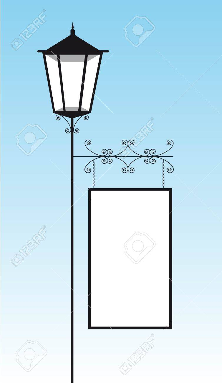 black lamp street with copy space over sky. vector illustration Stock Vector - 11618410