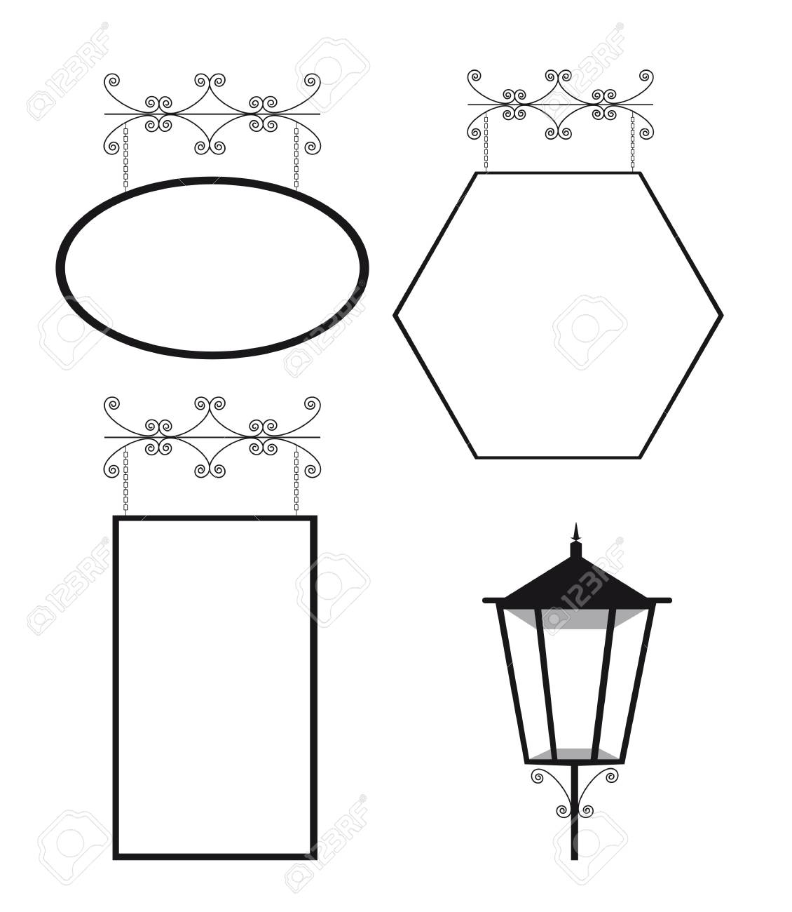 black and white copy space and  lamp street. vector illustration Stock Vector - 11618565