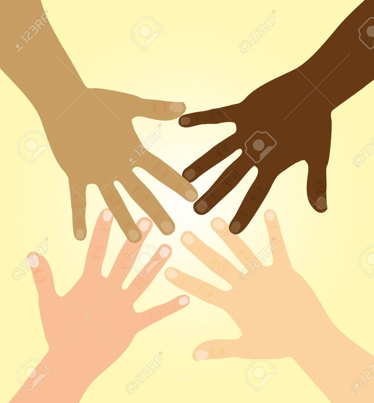 diversity hands over yellow background. vector illustration - 11618596