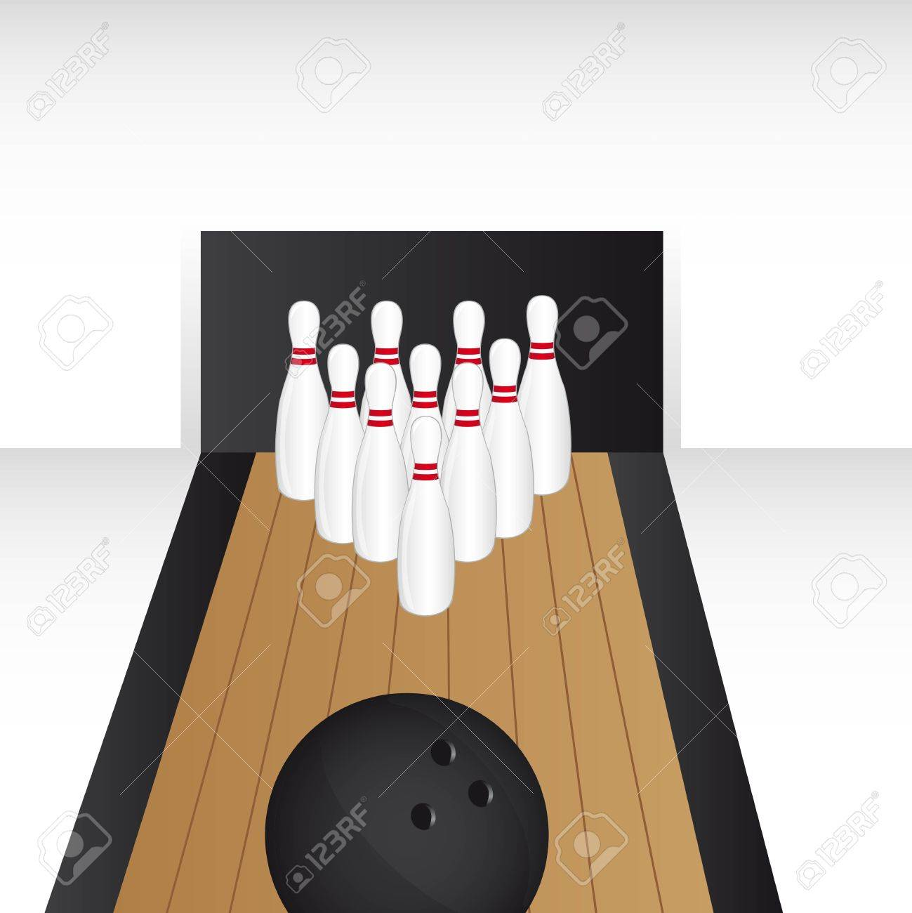 bowling alley with bowling ball vector illustration royalty free rh 123rf com bowling alley clipart free Cartoon Bowling Pins