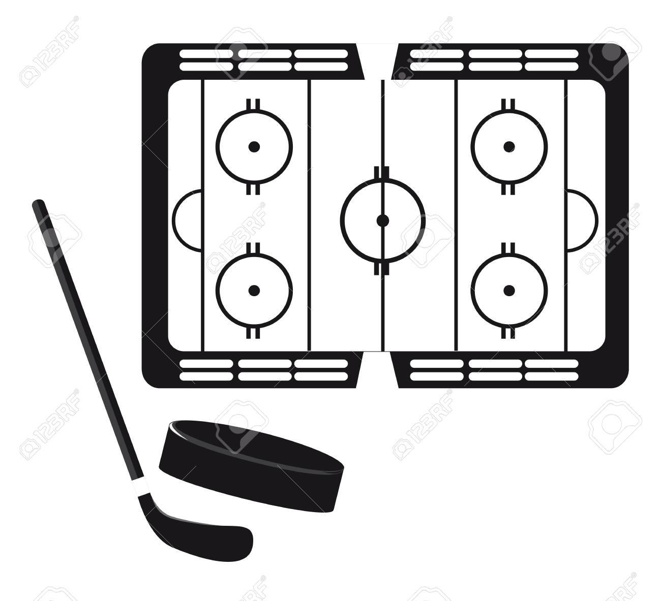 hockey pitch with hockey puck and stick silhouette. vector Stock Vector - 11877897