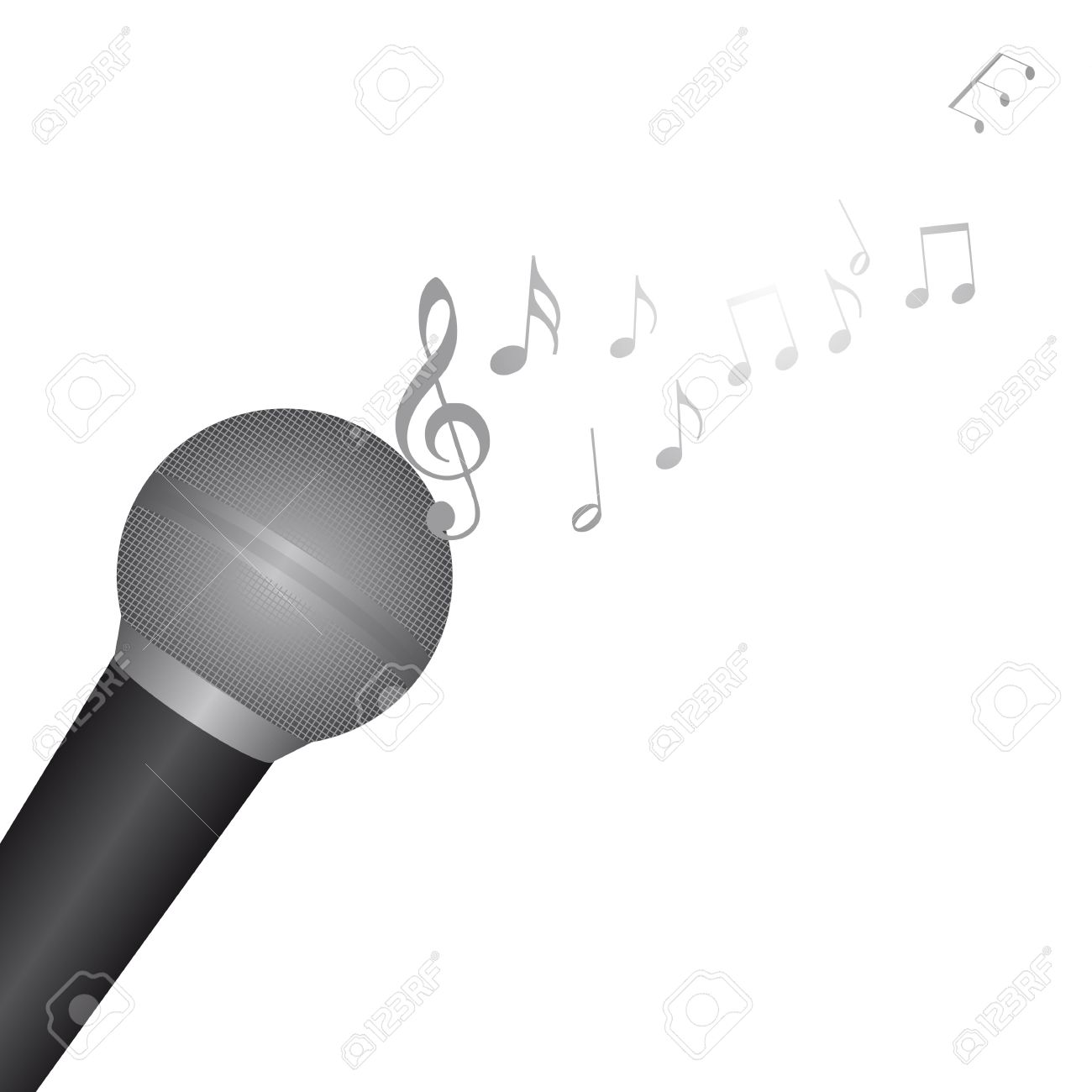 microphone with music notes over white background vector royalty