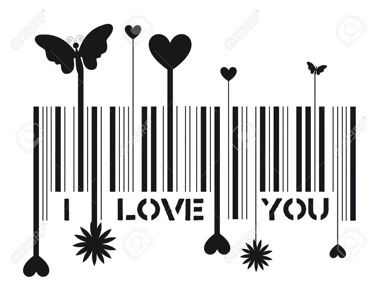 Bar code with i love you message, vector illustration Stock Vector - 12136722