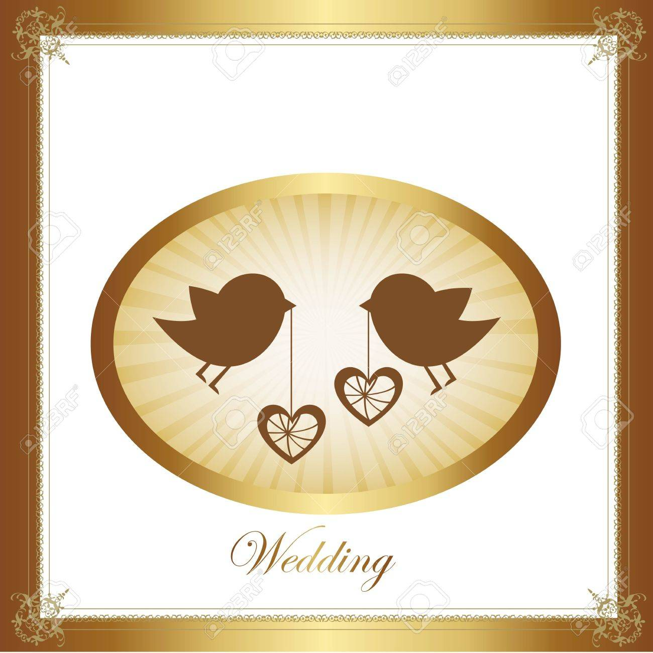 Couple of birds in love, gold illustration, vector graphic Stock Vector - 12136697