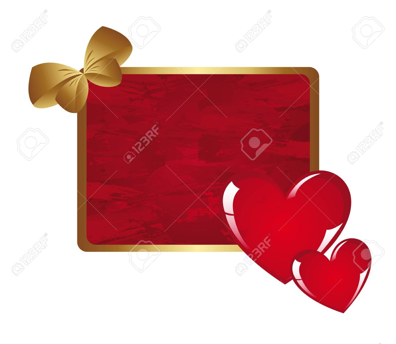 Hearts on red card, space to insert text or design, vector illustration Stock Vector - 12136702