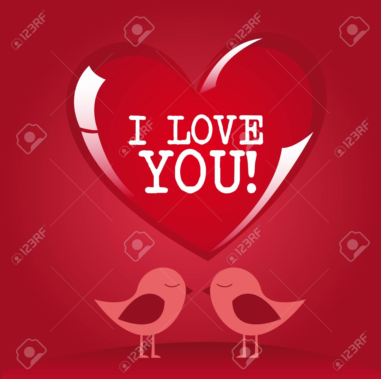 I love you message on red heart with lovely birds Stock Vector - 12136687