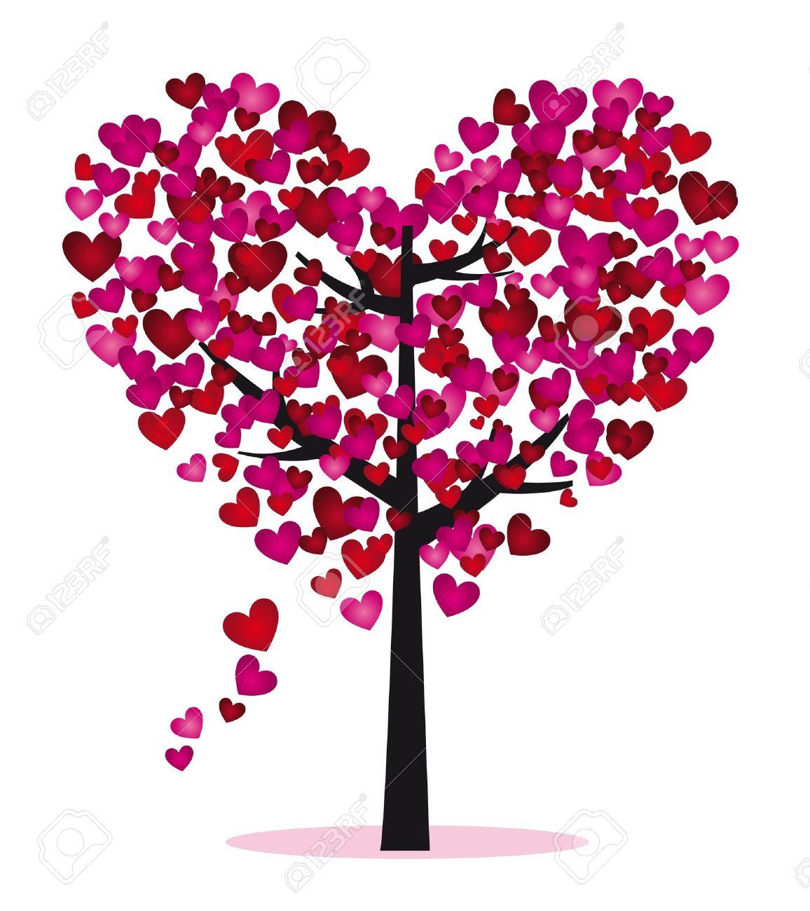 arbre coeur Arbre pourpre et rouge avec des feuilles de coeur illustration vectorielle