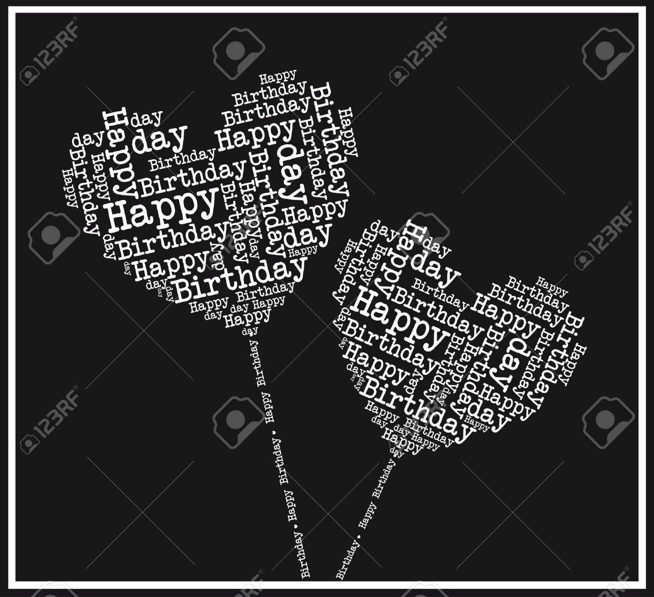 Black and white happy birthday hearts illustration