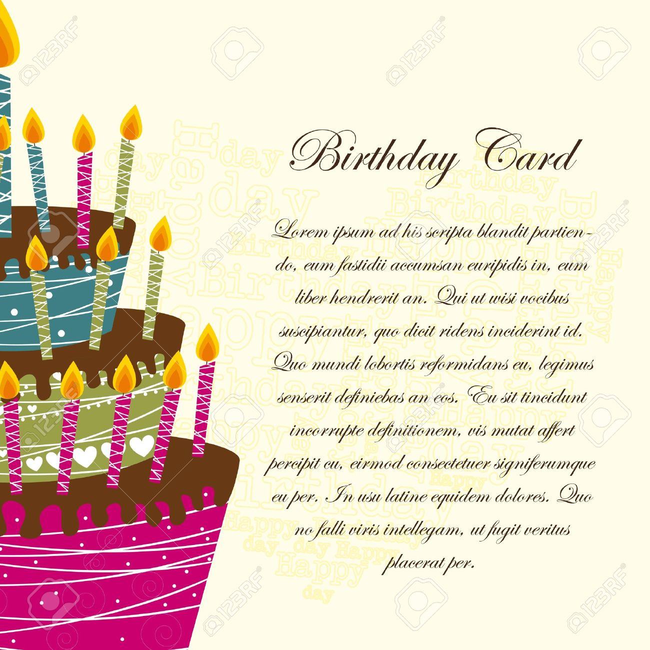 Birthday Card With Cake Over Beige Background Royalty Free – Greeting Card Invitation