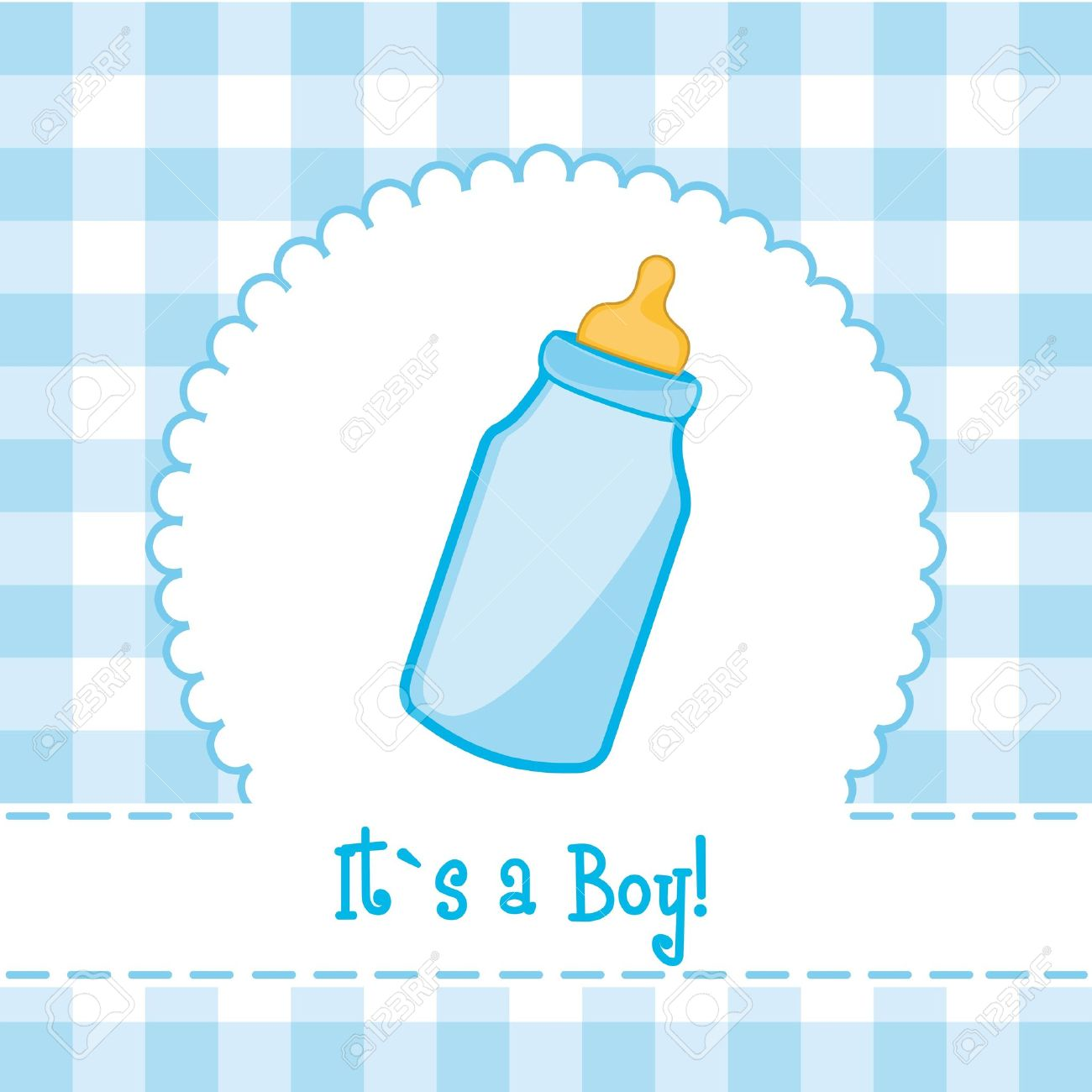 Its A Boy Card With Baby Bottle Baby Shower Illustration Royalty
