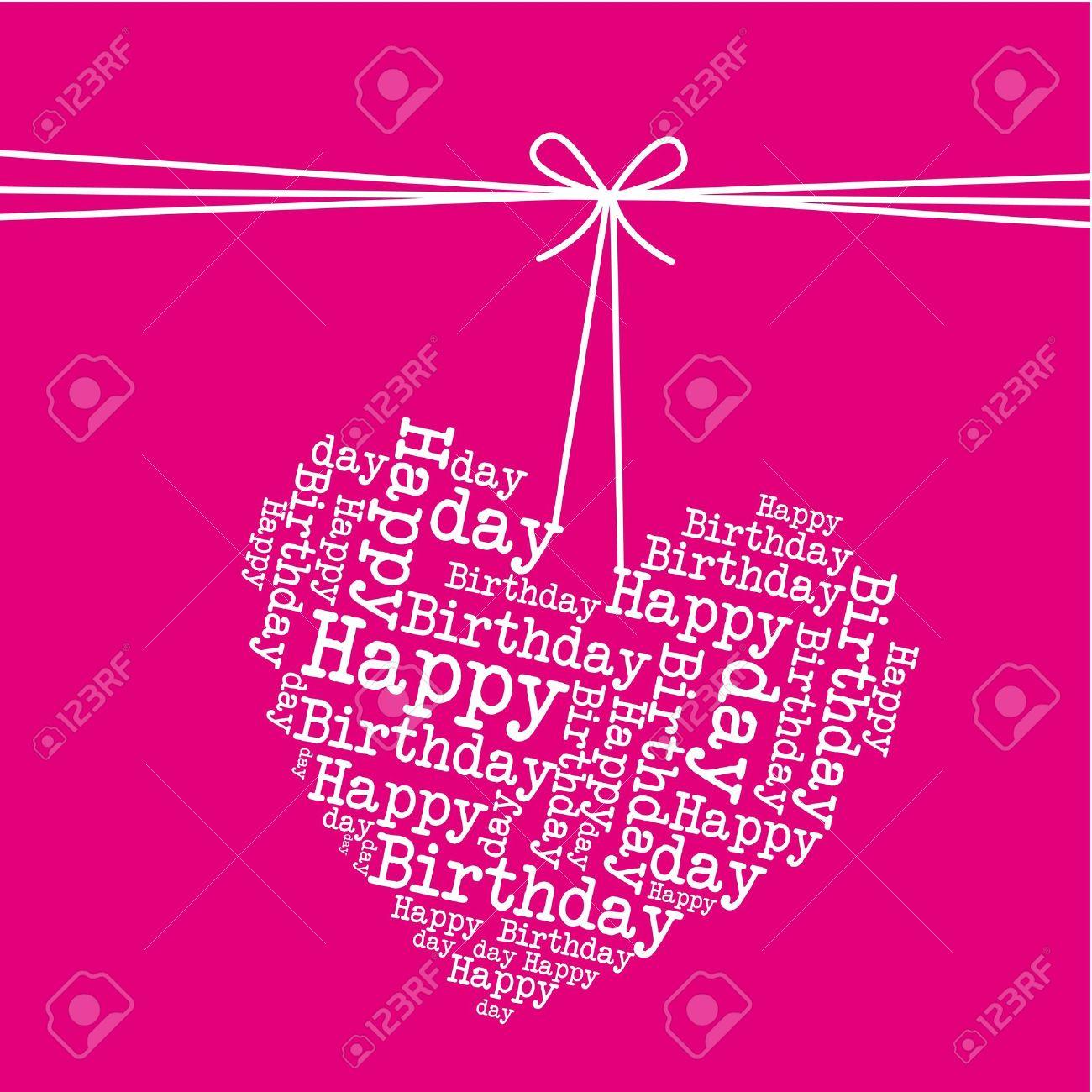 Colgando Corazón Sobre Fondo De Color Rosa, Feliz Cumpleaños ...