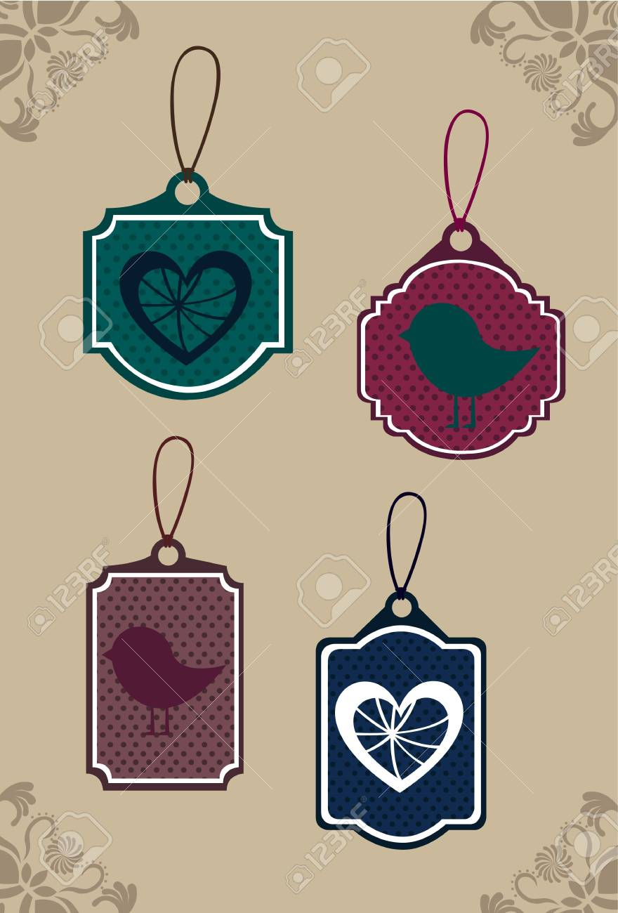cute tags over brown background. illustration Stock Vector - 12458939
