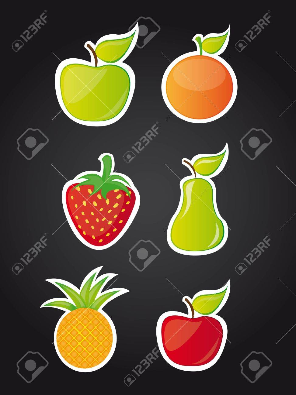 six cute fruits over black background illustration Stock Vector - 12459056