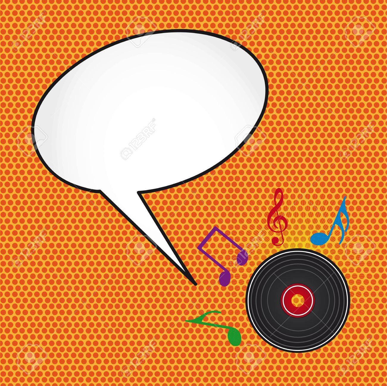 pop art with music notes and disc with thought bubbles. Stock Vector - 12459276